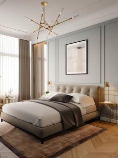 Moderne klassiekers in het interieur op Behance - Landhausstil Dekor Bedroom Bed Design, Home Room Design, Home Decor Bedroom, Home Interior Design, Luxury Bedroom Design, Interior Designing, Contemporary Interior Design, Contemporary Bedroom, Modern Bedroom