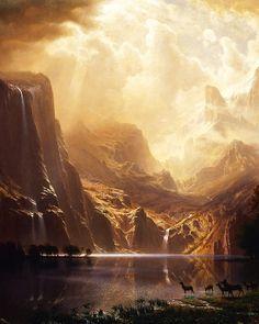 "slojnotak: "" Albert Bierstadt - Among the Sierra Nevada, California "" Fantasy Art Landscapes, Fantasy Landscape, Landscape Art, Beautiful Landscapes, Landscape Paintings, Oil Paintings, Albert Bierstadt Paintings, Hudson River School Paintings, Environment Painting"