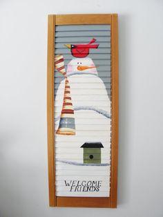 Welcome Friends Sign Vintage Shutter Winter Wall Art