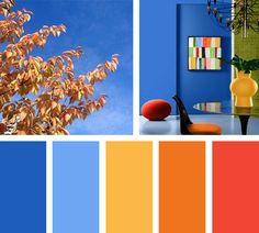 Colores que nacen de un día soleado y brillante. Una combinación de azules, amarillos, naranjas y rojos te hacen despertar.  Espacio Vía: elledecor.com
