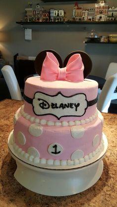 Minnie mouse 1st birthday cake by Karen's Kaykes