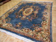 8x10 Chinese Aubusson Super Fine 100 Wool Area Oriental Rug Estate Item