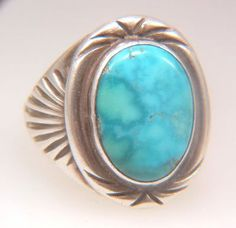 Vintage Sterling Silver and Turquoise Native American Ring
