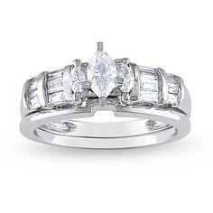 Miadora 14k White Gold 1/2ct TDW Marquise Diamond Bridal Ring Set ($793) ❤ liked on Polyvore featuring jewelry, rings, silver, baguette diamond rings, diamond bridal rings, engagement rings, wedding rings and bridal set rings