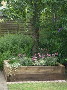 Wood Planter Bed of Flowers in Front of Lime Tree
