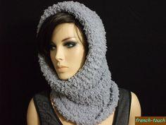 snood cagoule gris laine fourrure réversible pour femme ou ado fille -snood accessoire de mode hiver en laine