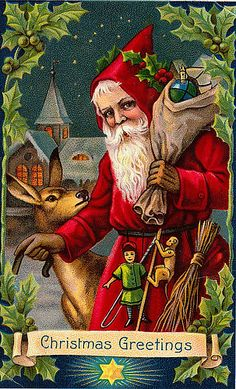 https://flic.kr/p/7iypYH | Vintage Santa Christmas Postcard | Free to use in your Art only, not to Sale on a Collage Sheet or a CD