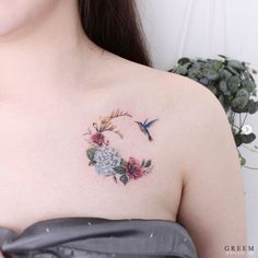 Floral crescent moon by Greem