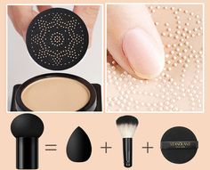Wanna get a photo-ready foundation look at any age? Elvéra gives you a FLAWLESS, NON-CAKEY makeup and concealing experience!This Air Cushion CC Cream gently wr Cakey Makeup, Skin Makeup, Makeup Brushes, Cc Creme, Lash Extension Mascara, Waterproof Eyebrow, Unique Makeup, Uneven Skin Tone, Tips Belleza