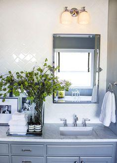 Bathroom with White Subway Tile Herringbone Tile Backsplash - Transitional - Bathroom White Subway Tile Backsplash, Travertine Tile, Vanity Backsplash, Subway Tiles, Backsplash Ideas, Tile Ideas, Kitchen Backsplash, Tile Accent Wall, Shower Plumbing