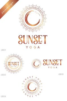 Explore over logo templates including badges, icons, and other elements for creating unique, feminine, and modern logos. Yoga Logo, Circle Logo Design, Circle Logos, Mandala Logo, Kreis Logo Design, Three Logo, Logo Desing, Sun Logo, Cafe Logo