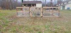 3-rail post & board garden fence with weld wire mesh installed by Trevor & his crew from #triborofence #woodfence Post Board, Fence Styles, Wire Mesh, Shed, Outdoor Structures, Garden, Garten, Metal Trellis, Wire Mesh Screen