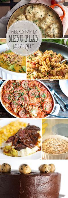 The meals you need for the week, including Southwest Quinoa Casserole, Easy Chicken and Dumpling Soup,  One Pot BBQ Chicken and Bacon Pasta, Baked Orzo with Chicken, Mississippi Roast, New York Style Coffee Cake, Double Chocolate Peanut Butter Chocolate Chip Cookie Dough Cake.
