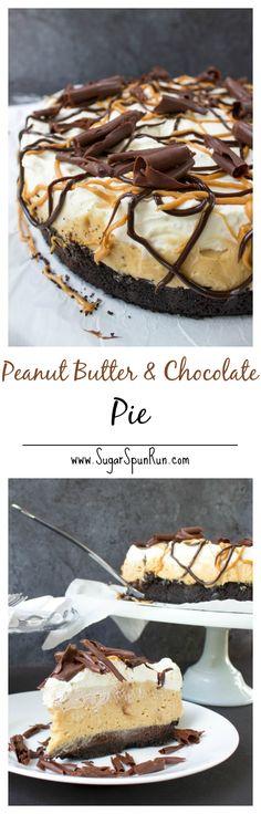 Deep Dish Peanut Butter and Chocolate Pie -- SugarSpunRun