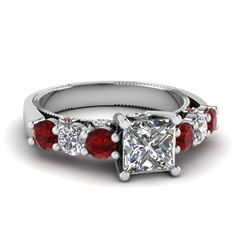 3 stone diamond center ruby side - Google Search