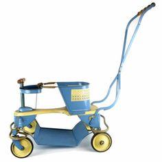 1950-Taylor-Tot-Montgomery-Wards-Vintage-Stroller-Metal-Baby-Walker-Blue-Buggy