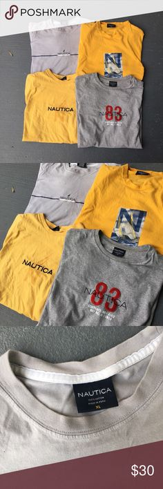 Nautica t shirt bundle set Two yellow and two grey Nautica vintage sailing shirts  Selling as a bundle not separate  All of them in excellent condition  No stains no damages no holes  Fits perfect to size  The yellow one with graphic has small cracking but not really  Retro lil boat Yachty 90s vtg Nautica Shirts Tees - Short Sleeve