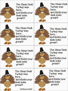 I think the Clean Desk Turkey is going to visit my classroom this week. Classroom Rewards, Fun Classroom Activities, Kindergarten Activities, School Classroom, Classroom Themes, Classroom Management, Thanksgiving Activities, Holiday Activities, Desk Fairy