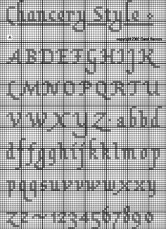 Chancery or Italian Humanistic: capitals, lowercase, numerals (capitals: 7 high + 5 for descenders; lowercase: 5 high + 5 for ascenders + 5 for descenders) Crochet Alphabet, Cross Stitch Alphabet Patterns, Embroidery Alphabet, Cross Stitch Letters, Cross Stitch Boards, Cross Stitch Samplers, Cross Stitching, Cross Stitch Embroidery, Stitch Patterns