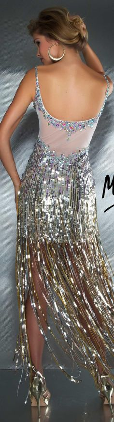 Mac Duggal couture dress nude / silver #long #formal #dress #glitter MAC DUGGAL PROM STYLE 85096M BACK