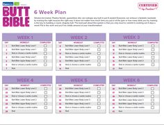 """The Butt Bible 6 Week Plan - Only tried it Summer 2013 for 2-3 weeks and it toned up my arms a bit (combined with a different yet very simple arm routine - dumbbells). *Tip: SEARCH """"Butt Bible"""" (On TiFFerzZehNiNjA's account)"""