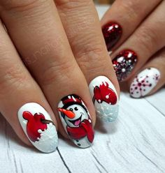 50 Winter Nail Art Designs 2019 These trendy Nails ideas would gain you amazing compliments. Christmas Nail Art Designs, Holiday Nail Art, Winter Nail Designs, Winter Nail Art, Xmas Nails, Christmas Nails, Snowman Nails, Sweater Nails, Trendy Nail Art