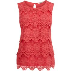 OASIS Lace Shell Top (92 BRL) ❤ liked on Polyvore featuring tops, shirts, blouses, blusas, tank tops, lace top, lace tank top, red tank top, red shirt and sleeveless tank tops