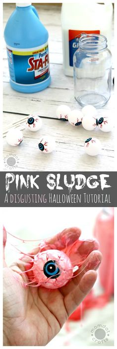 Pink Sludge: DIY Disgusting Eyeball Slime to help you make disgusting decor, gross out your friends and kids, Halloween Tutorial you must do! Inspired by Ghostbusters Slime River Halloween Activities, Craft Activities, Halloween Kids, Halloween Themes, Halloween Decorations, Halloween Party, Happy Halloween, Crafts For Boys, Diy Arts And Crafts