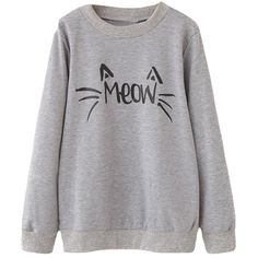 Halife Women's Cute Cat Face and Meow Letter Print Lightweight... (55 RON) ❤ liked on Polyvore featuring tops, hoodies, sweatshirts, cat print top, initial sweatshirt, cat sweatshirt, cat top and lightweight sweatshirts