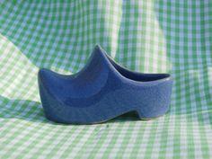 Ceramic Dutch Shoe Miniature Blue Shoe  3 inches long, teeny vase or planter