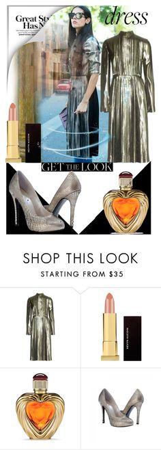 """Metallic dress"" by zoe-sneki ❤ liked on Polyvore featuring Loewe, Kevyn Aucoin, Victoria's Secret and GetTheLook"