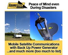 Mobile Satellite Communications with back up power generator on our communications trailer.