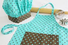 Retro Brown and Teal Dot Child Apron and by SweetApronzNCupcakes, $31.99