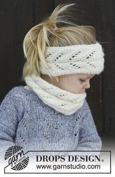 Eirlys / DROPS Children - free knitting patterns by DROPS design . Eirlys / DROPS Children - free knitting patterns by DROPS design The set includes: Knitt. Knitting Blogs, Knitting For Kids, Knitting Patterns Free, Free Knitting, Baby Knitting, Drops Design, Toddler Headbands, Lace Headbands, Laine Drops