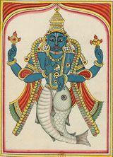 BnF - Miniatures et peintures indiennes Avatars de vishnu : l'homme poisson, l'homme tortue, l'homme tête de sanglier, l'homme lion, le nain qui devient géant, rama à la hache, Krishna, Bouddha, kalki