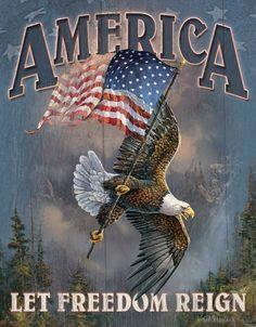 America - Let Freedom Reign. America - Let Freedom Reign. American Flag Eagle, American Pride, American History, American Soldiers, American Quotes, American Spirit, American Presidents, Harley Davidson Posters, I Love America