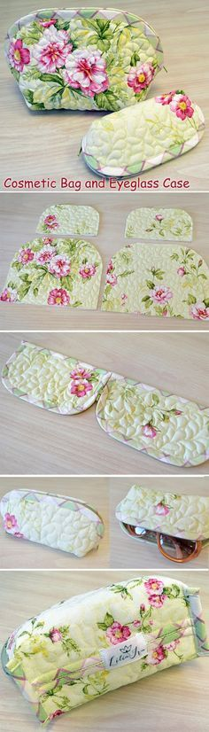 Cosmetic Bag and Eyeglass Case. DIY step-by-step tutorial. Шьем комплект: косметичка и очечник. http://www.handmadiya.com/2015/09/cosmetic-bag-and-eyeglass-case.html
