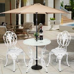 The rust-proof surface treatment greatly prolongs its service life. It is worth mentioning that an umbrella hole is designed in the middle of the table to protect you from the sun and rain. Adjustable foot pads are installed on the bottom of the table and chair to ensure that the set can be balanced even on uneven ground. In addition, carved with exquisite rose patterns, our bistro set is definitely a perfect complement to deck, garden, backyard and other places!