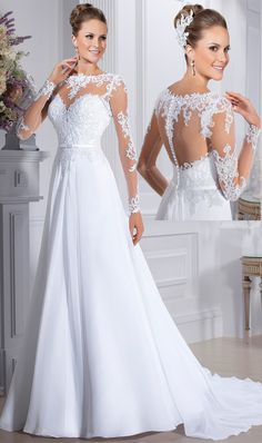 Aline Wedding Dresses 2018 A Line Scoop Wedding Dresses Long Sleeves Chiffon With Applique Scoop Wedding Dress, Western Wedding Dresses, Wedding Dress Trends, Modest Wedding Dresses, Perfect Wedding Dress, Wedding Dress Styles, Chiffon Dresses, Wedding Ideas, Bridal Skirts