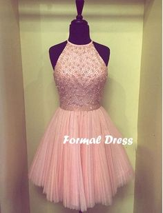 Pretty Pearl Pink Mini Tulle Prom Dress,Homecoming Dress With Beadings