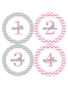 Pink and Grey Gray Chevron Monthly Onesie Stickers for New Mom..Modern Baby Girl or Baby Boy...Favorite Baby Shower Gift...Month Stickers. $9.00, via Etsy.