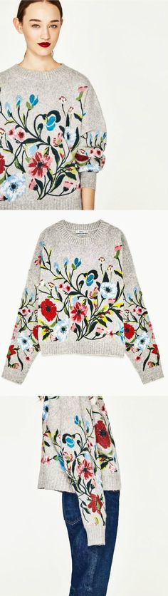 ❤️ Sweet Floral Fashion Trend Editors Pick : An Embroidery Sweater as featured on PASABOHO *Available for wholesale :: bohemian clothes, cute dresses and skirts. Fashion trend and styles from hippie chic, modern vintage, gypsy style, boho chic, hmong ethnic, street style, geometric and floral outfits.