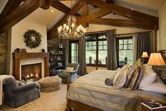 Master bedroom with fireplace luxury master bedroom with fireplace master bedroom fireplace idea luxury classic bedroom . master bedroom with fireplace Master Bedroom Fireplace Ideas, Bedroom Redesign, Rustic Master Bedroom, Bedroom Decor, Bedroom Fireplace, Home, Rustic Living Room, Home Bedroom, Dream Master Bedroom