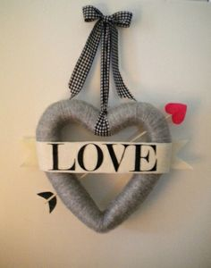 Heart wreath made with styrofoam and yarn
