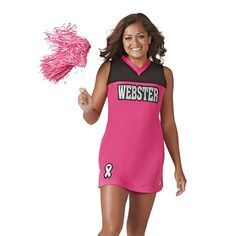 The Industry Leader for made in the USA in-stock and custom Cheerleading Uniforms. Cheerleading Company also has all of the accessories you need, including shoes, pom poms, campwear and cheer apparel. Cheerleading Company, Cheerleading Uniforms, Cheer Picture Poses, Pink Out, Cheer Outfits, Cheer Pictures, Tops, Fashion, Moda