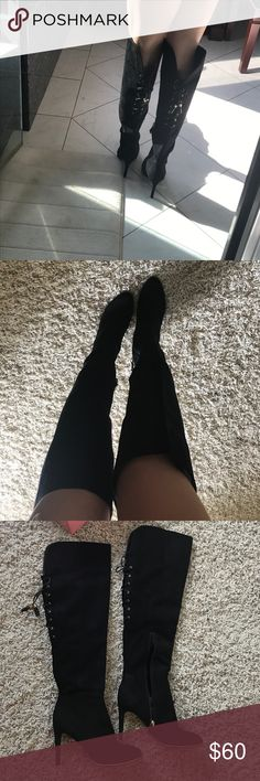 Thigh high boots Like new!!! Wore once!! Very sexy and stylish but too big for me :( Shoes Over the Knee Boots