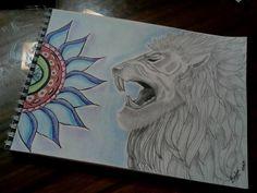"""""""Mandala y Léon"""" Dibujo con lápices de colores.   #Draw #León #Mandala #Lápices #Colores #ByN"""