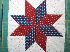 Red Letter Quilts: 8 Point LeMoyne Star Tutorial - No Y Seams! I like keeping the diamond shapes Quilting Tutorials, Quilting Projects, Quilting Designs, Strip Quilt Patterns, Strip Quilts, Quilting Patterns, Fat Quarter Quilt, Patriotic Quilts, Quilt Of Valor