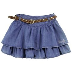 Flounced skirt made of stone-washed blue dneim. Navy blue percale lining. Liu Jo signature in shimmering rhinestones on the side. Little Girl Skirts, Skirts For Kids, Baby Girl Dresses, Toddler Fashion, Toddler Outfits, Kids Outfits, Girl Fashion, Liu Jo, Baby Dress Design