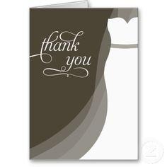 Gorgeous Dress Bridal Shower Thank You Card
